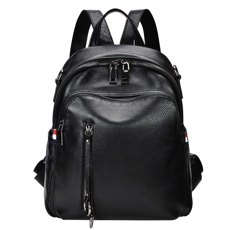 ALTOSY Fashion Genuine Leather Backpack Purse for Women Shoulder Bag Causal Daypack (S9, Black)