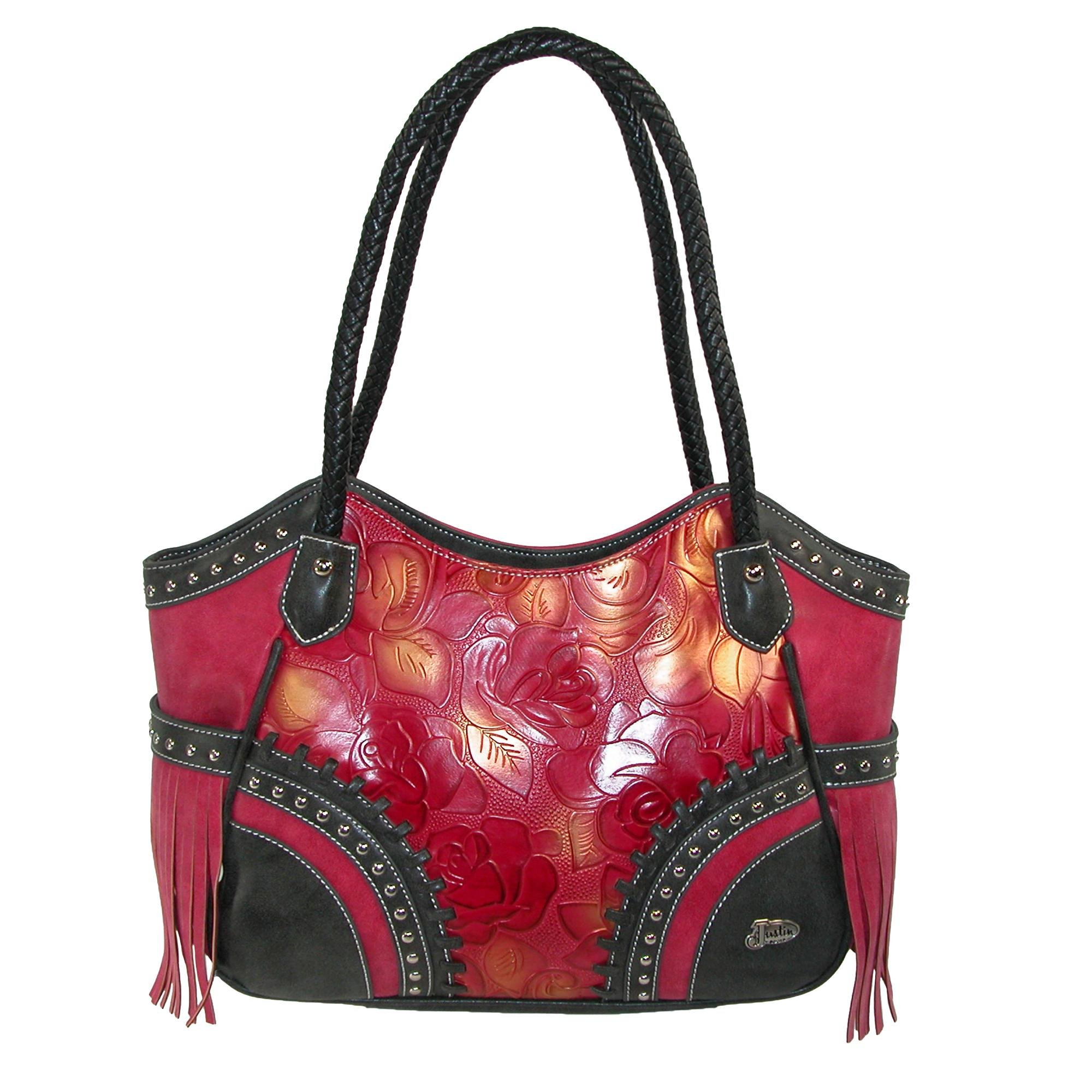3 D Belt Company Women's Floral Embossed Satchel Bag with Faux Leather Fringe