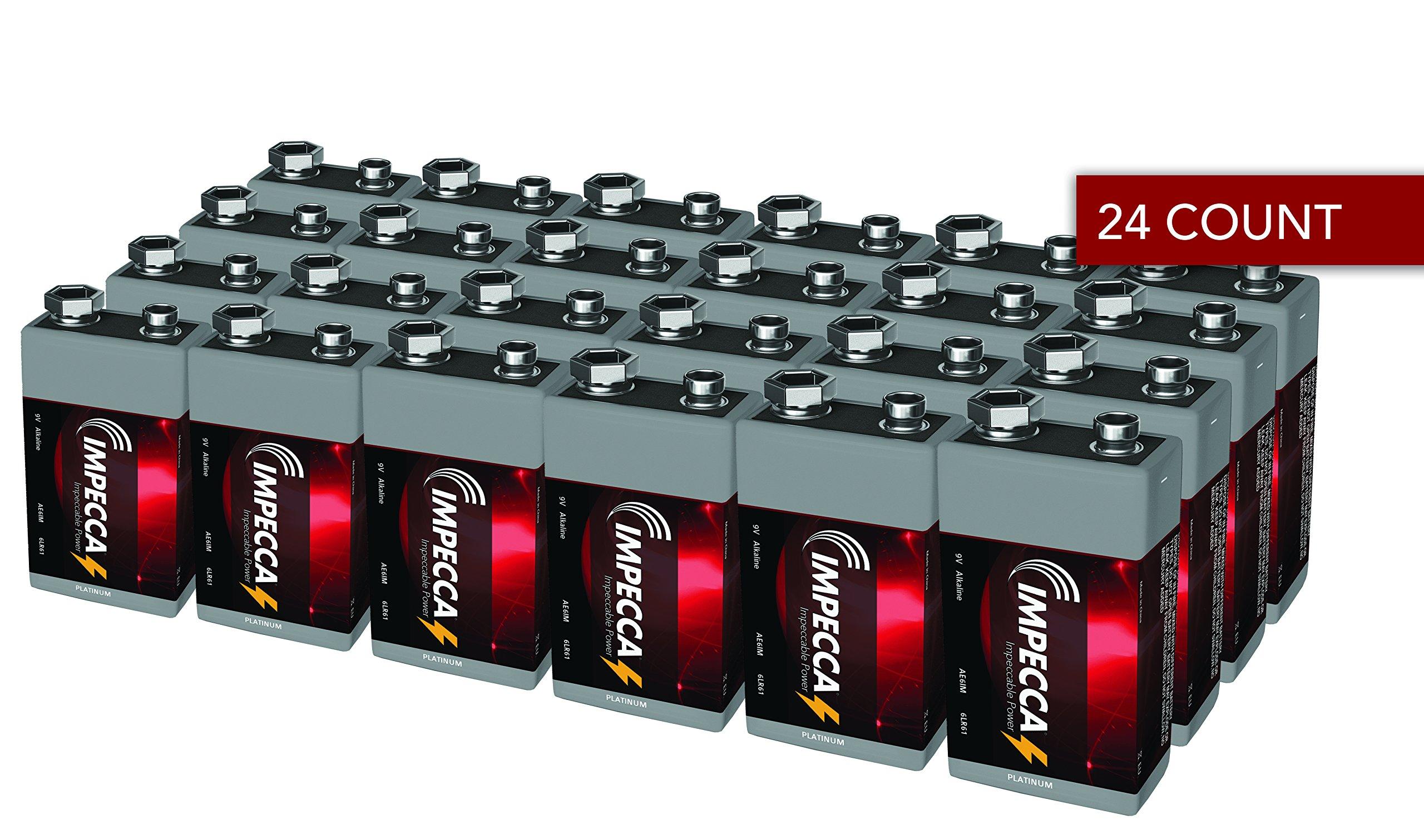 IMPECCA 9 Volt Batteries, All Purpose Alkaline Battery (24-Pack) High Performance + Long Lasting 9V Battery, Leak Resistant 24 Count 6LR61 - Platinum Series