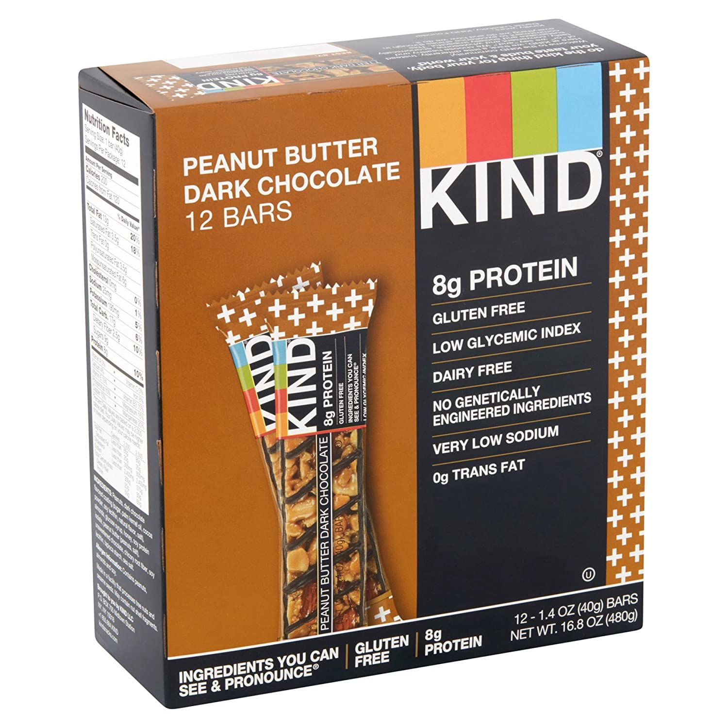 Amazon.com : KIND Bars, Peanut Butter Dark Chocolate, 8g Protein, Gluten Free, 1.4 Ounce Bars, 12 Count (Pack of 5) : Grocery & Gourmet Food