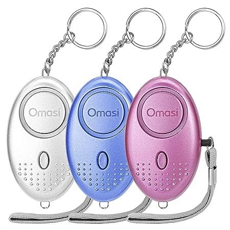 Omasi Taschenalarm 140 dB Persönlicher Alarm mit Taschenlampe Schlüsselanhänger, Panikalarm Selbstverteidigung Sirene für Fra