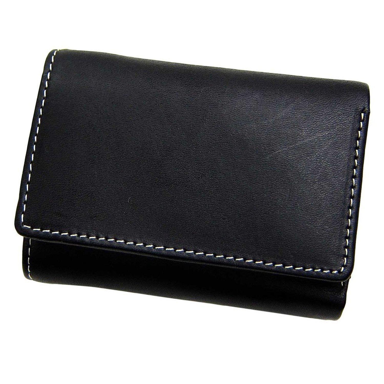 本物の品格!上品な栃木レザー財布 [Maturi] 牛革 極小 三つ折 財布 メンズ 紳士 プレゼント(ブラック)3034 B01KC23EMQ