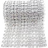 Honbay 4.5 Inch x 2 Yards Sparkling Flower Shape Diamond Mesh Wrap Roll Faux Crystal Rhinestone Mesh Ribbon for Wedding, Birt