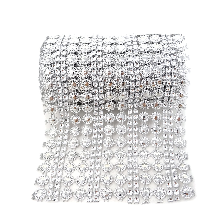 Baby Shower Honbay 4.5 Inch x 2 Yards Sparkling Flower Shape Diamond Mesh Wrap Roll Faux Crystal Rhinestone Mesh Ribbon for Wedding Arts /& Crafts,etc Silver Birthday