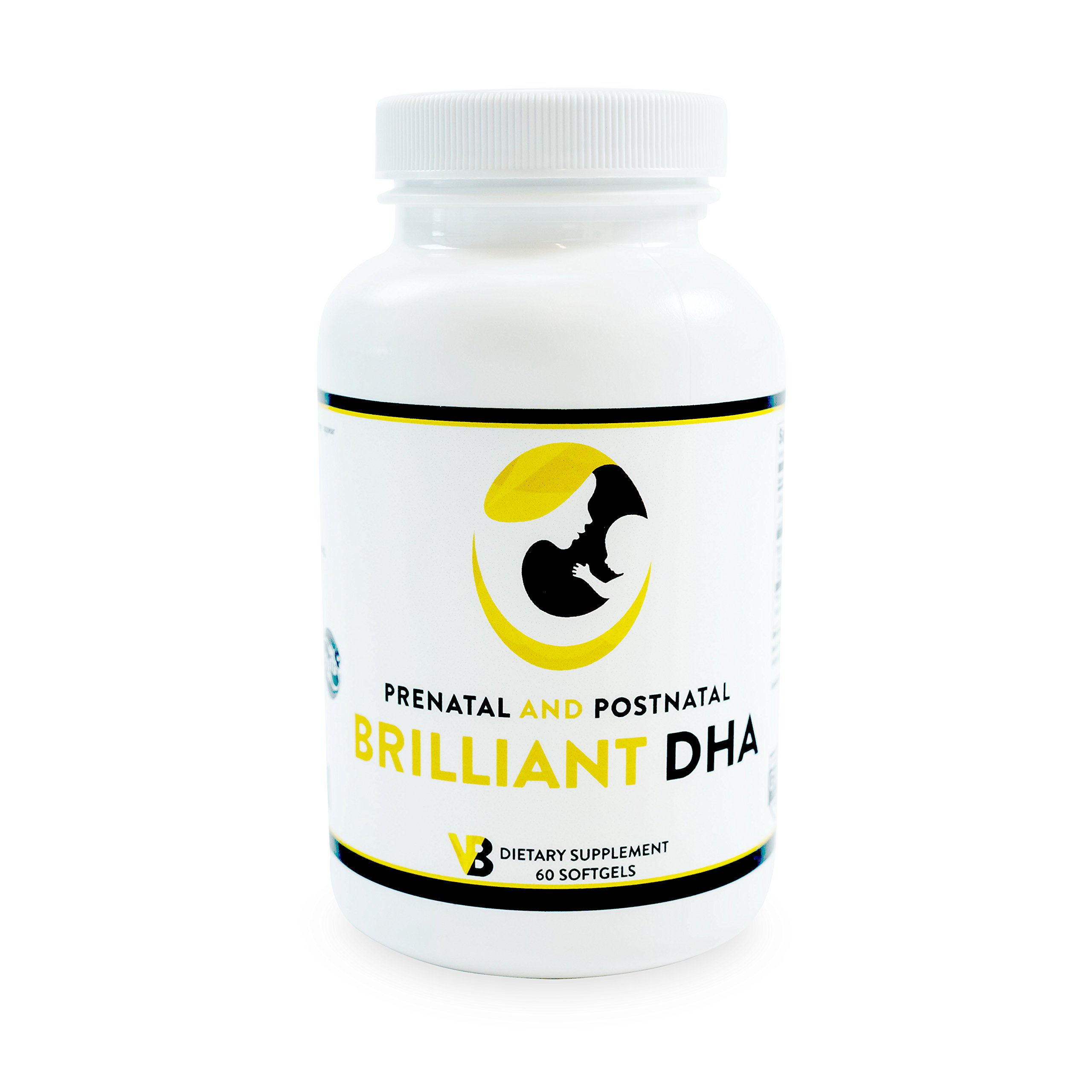 DHA Vitamins for Pregnancy/Postpartum, Supplements for Prenatal/Postnatal Women, Pure Triglyceride Omega 3 Small Fish 500/110 mg DHA/EPA - Vibrant Beginning Brilliant DHA 2-Month Supply (60 softgels)