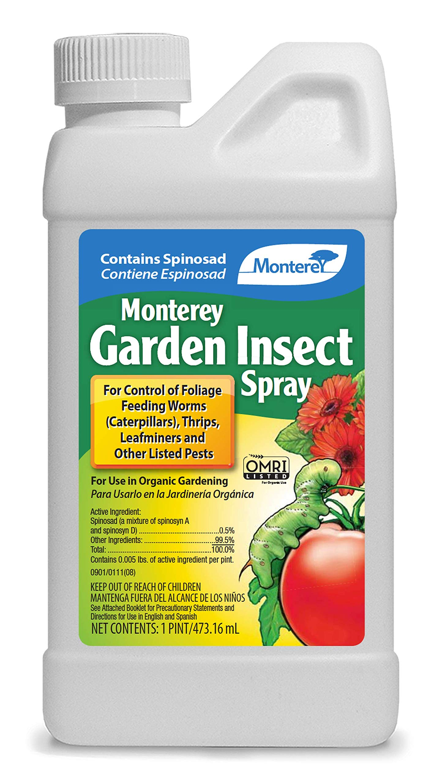 Monterey LG6150 Garden Insect Spray, Insecticide & Pesticide with Spinosad Concentrate, 16 Oz