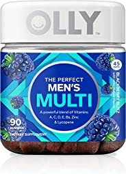 OLLY The Perfect Mens Gummy Multivitamin, 45 Day Supply (90 Gummies), BlackBerry Blitz, Vitamins A, C, D, E, B, Lycopene, Zin