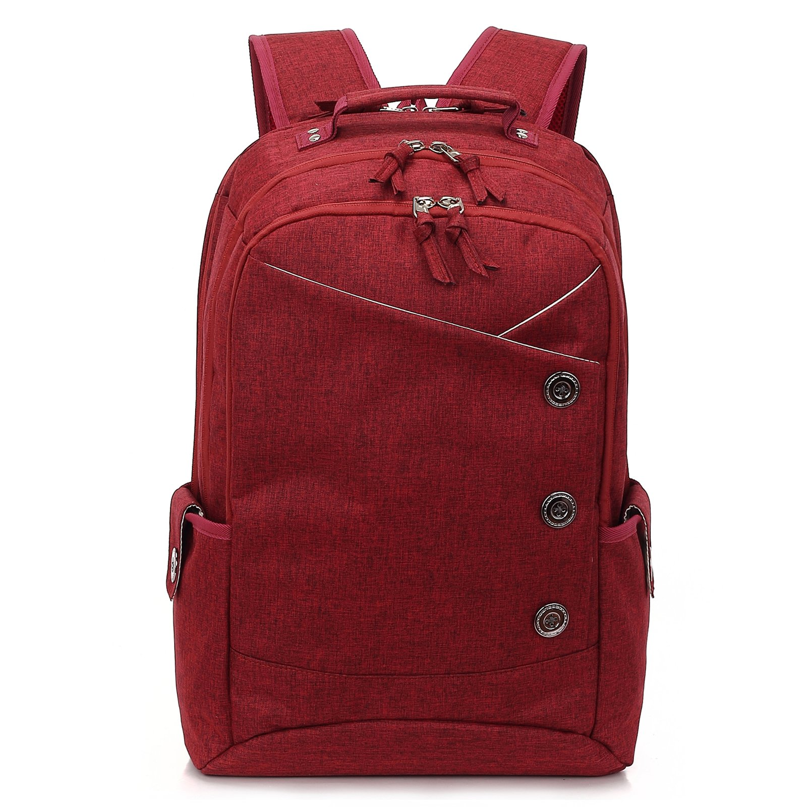 KINGSLONG Backpack Men Women, 15.6 inches Laptops Button Style Waterproof Shockproof Large Capacity School Bag to Travel Business Work Daypack Shopping(red)