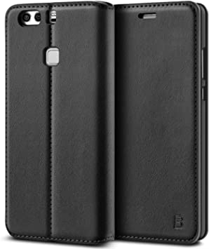 BEZ Funda Huawei P9 Plus, Carcasa Compatible para Huawei P9 Plus, Libro de Cuero con Tapa y Cartera, Cover Protectora con Ranura para Tarjetas y Billetera, Cierre Magnético, Negro: Amazon.es: Electrónica