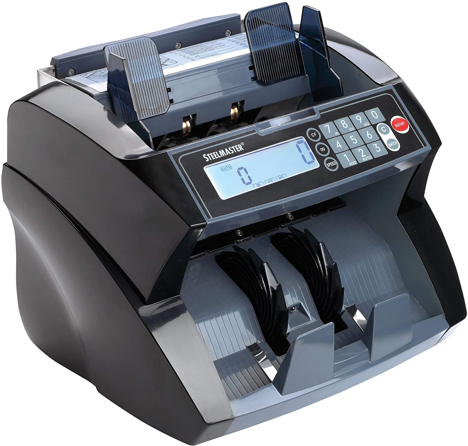 2004850C8 MG Black STEELMASTER Premium Front-Loading Bill Counter with UV IR Counterfeit Detection