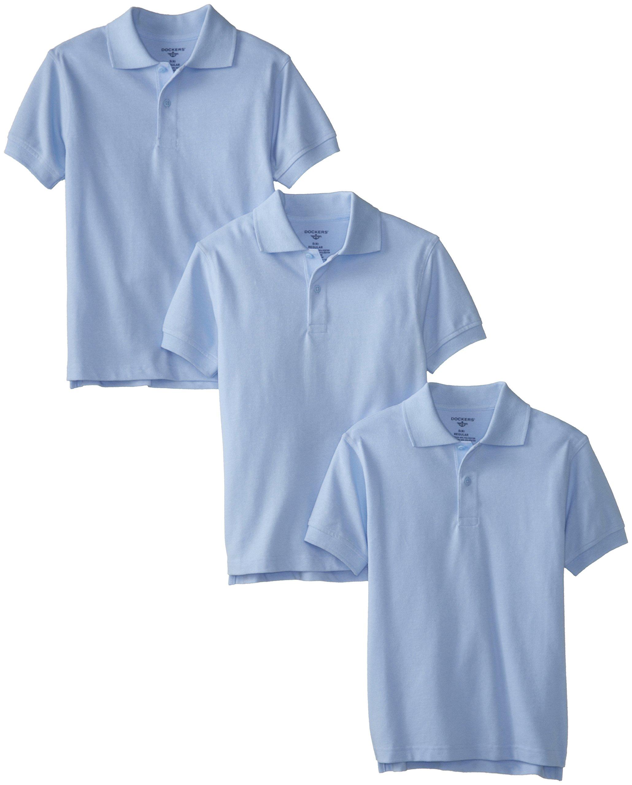 Dockers Big Boys' Uniform 3 Pack Husky Short Sleeve Pique Polo Bundle, Light Blue, X-Large/18/20