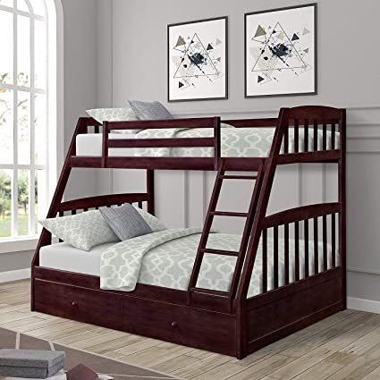Amazon Com Harper Bright Designs Twin Over Full Wood Bunk Bed With