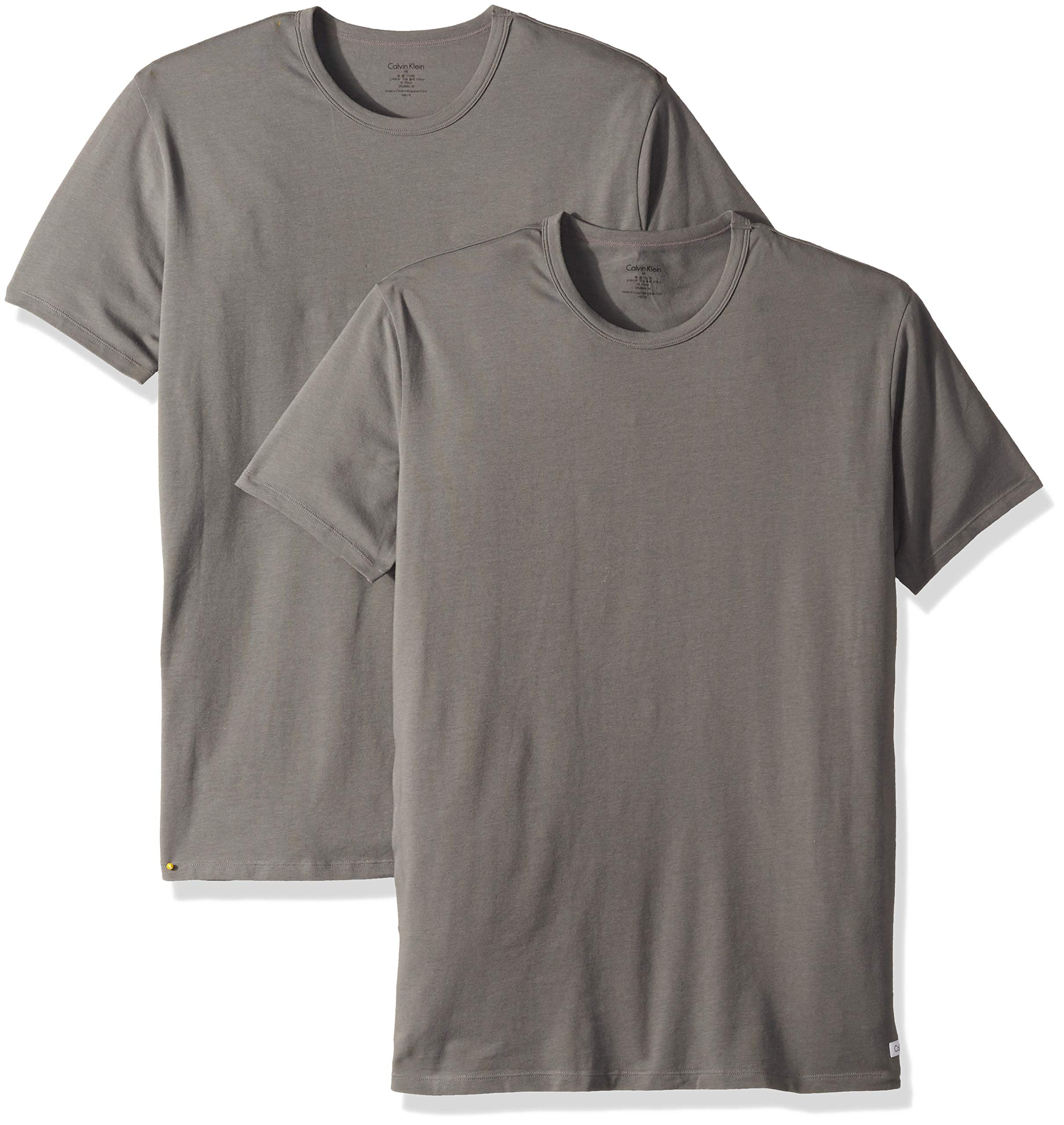 Calvin Klein Men's Cotton Stretch Multipack Crew Neck T-Shirts, Grey Sky, M by Calvin Klein