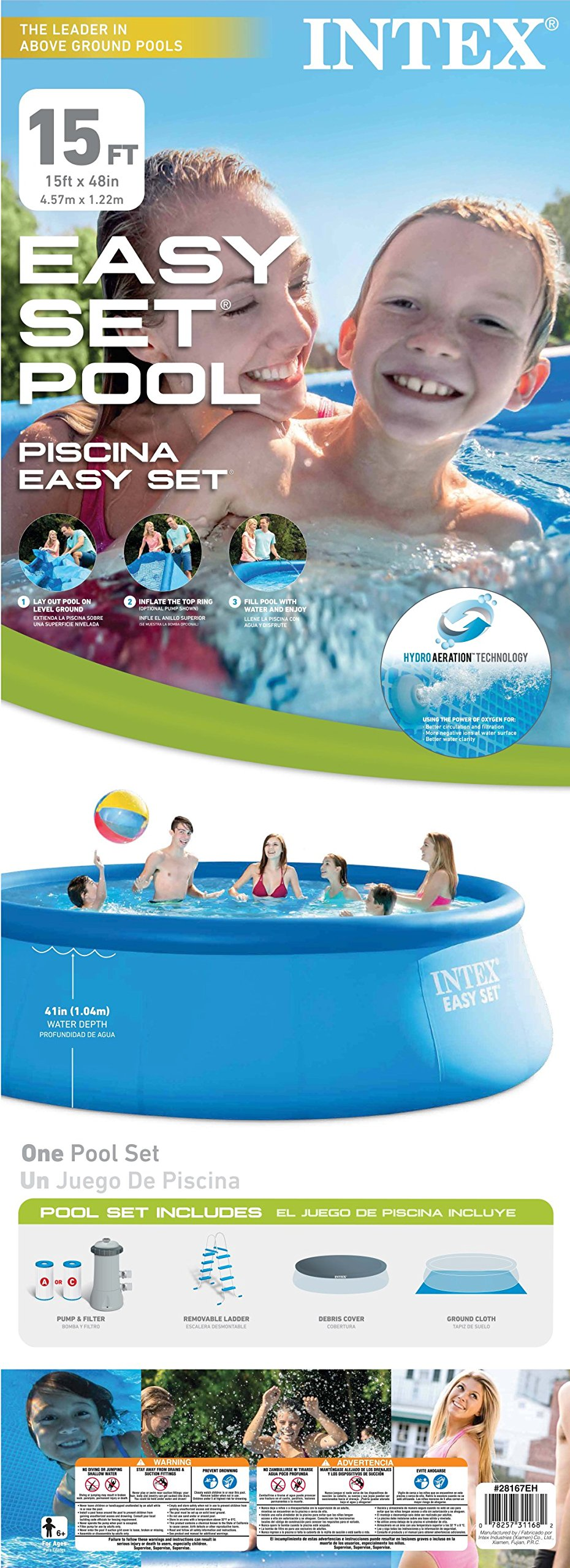 Intex 15' x 48'' Easy Set Swimming Pool Kit w/ 1000 GPH Filter Pump & Skooba Vac