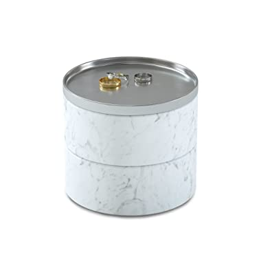 Umbra Tesora Jewelry Box, Two-Tier Resin Storage Container with Removable Lid, Marble/Nickel