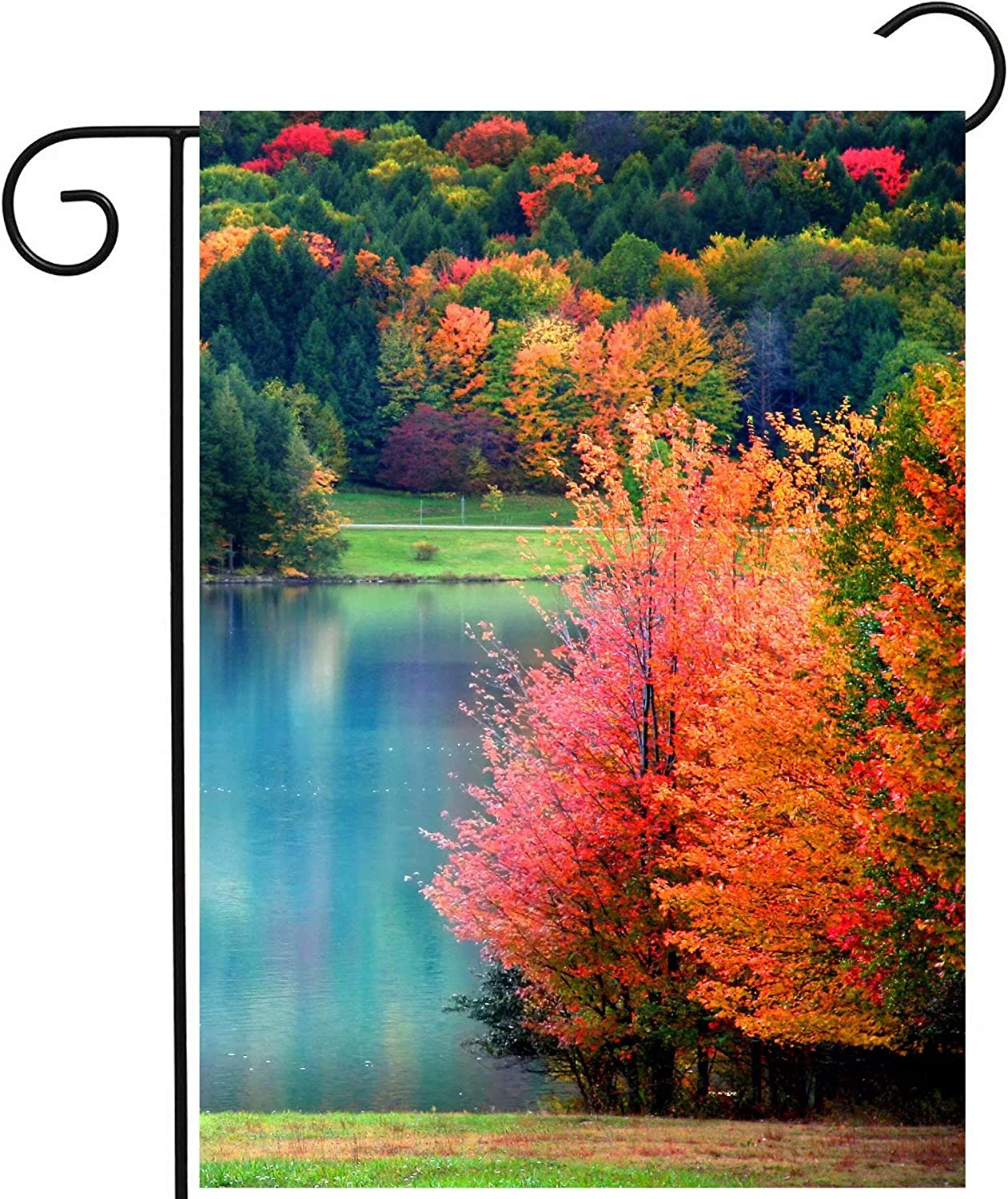Pickako Scenic Autumn Landscape Colorful Trees Lake River Pond in Forest Garden Yard Flag 12 x 18 Inch, Double Sided Outdoor Decorative Welcome Flags Banners for Home House Lawn Patio