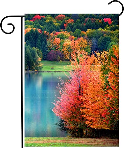 Amazon Com Pickako Scenic Autumn Landscape Colorful Trees Lake River Pond In Forest Garden Yard Flag 12 X 18 Inch Double Sided Outdoor Decorative Welcome Flags Banners For Home House Lawn Patio
