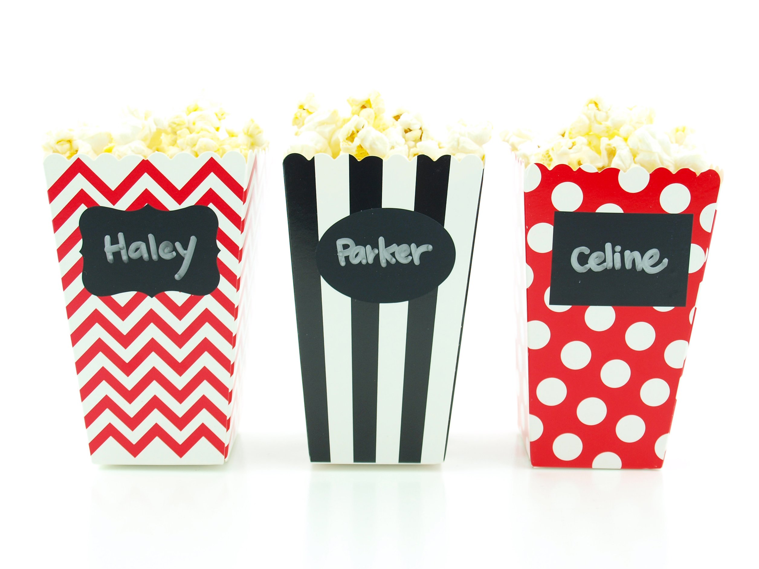 Pirate Party Popcorn Boxes & Black Label Chalkboard Vinyl Stickers (36 Pack) - Skeleton Skull Pirate Party Favors, Miniature Movie Theatre Pirates Popcorn Tubs for Boys Pirate Birthday Party Supplies by Food with Fashion