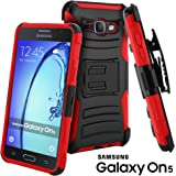 Galaxy On5 Case, CellJoy [Ultra Rugged Hybrid] Samsung G550 Dual Layer TPUShockProof Reinforced Bumper Protection CoverKickstand [Locking Swivel Belt Clip Holster Combo] (Red)