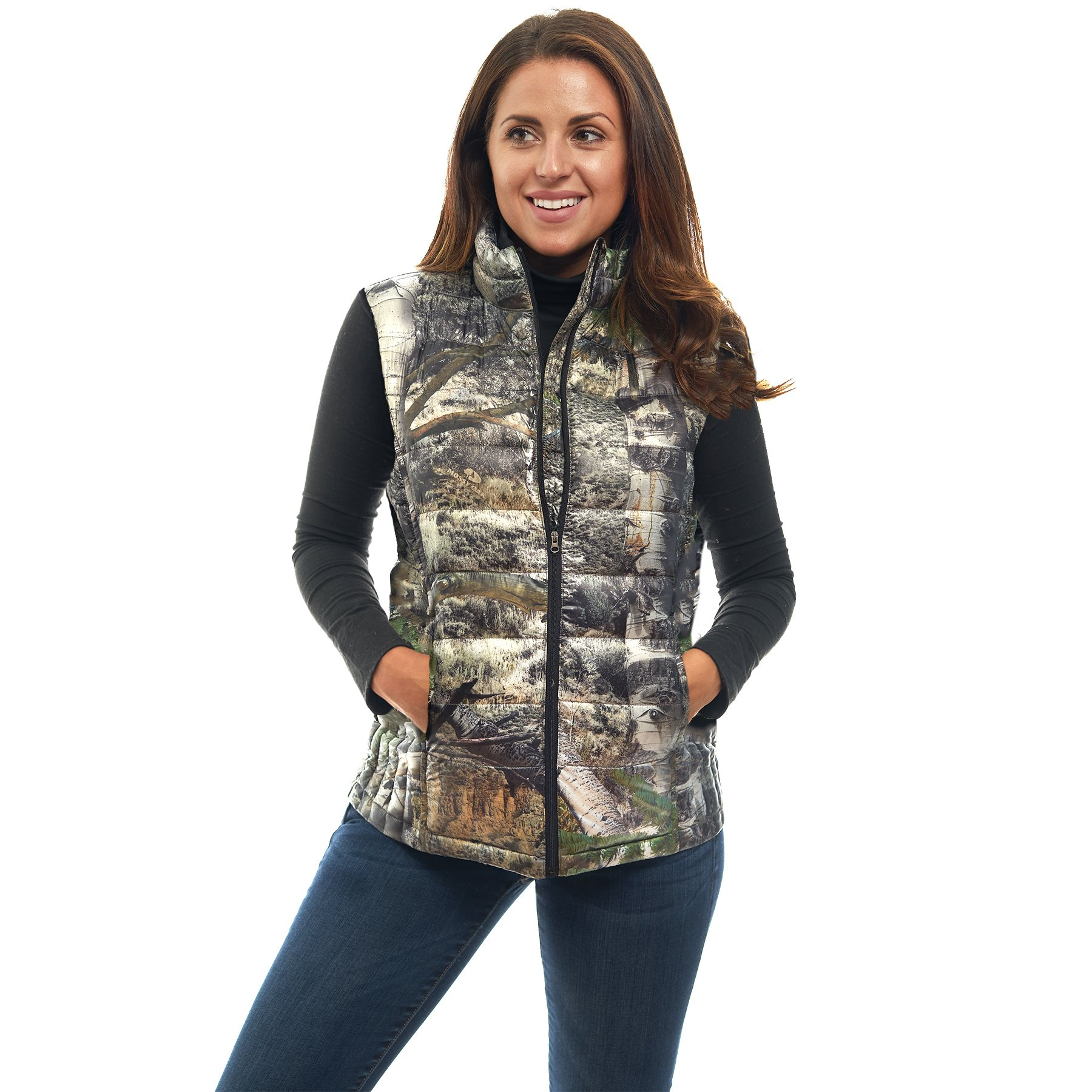 TrailCrest Women's Packable Ultra Lightweight Down Vest, Outdoor Puffer Vest, Mossy Oak Mountain Country Camo (X-Large)