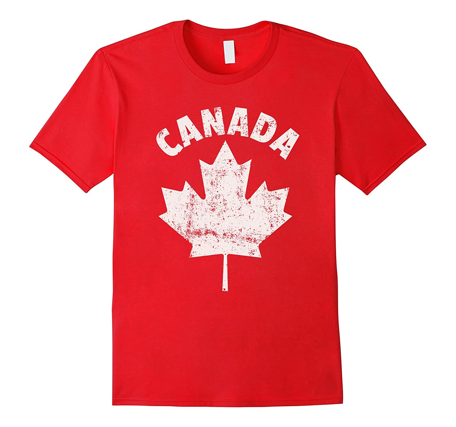 FLAG OF CANADA Red White Fun Cool Canadian Leaf T-Shirt- TPT