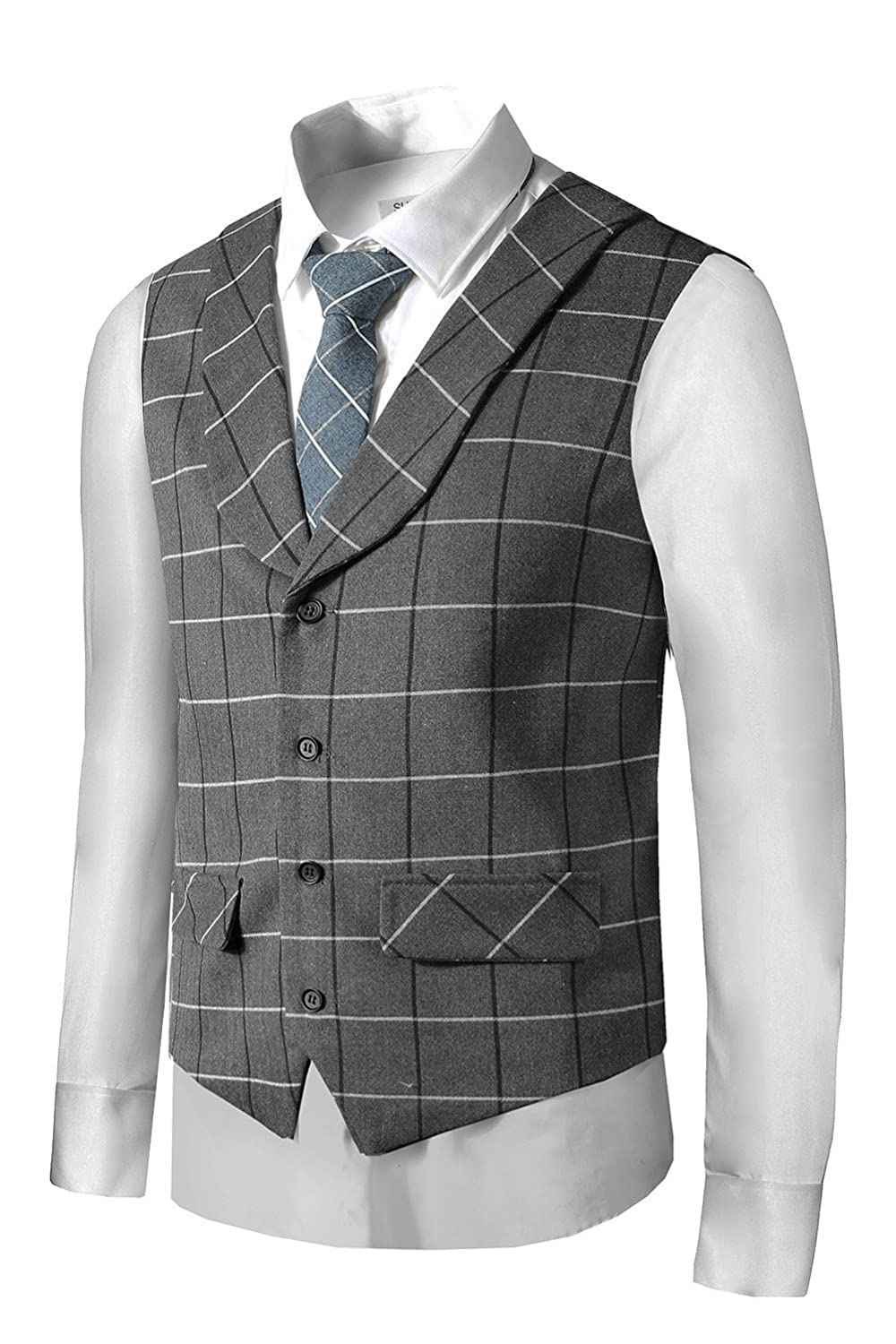 1920s Style Mens Vests Hanayome Mens Gentleman Top Design Casual Waistcoat Business Suit Vest VS17 $28.50 AT vintagedancer.com