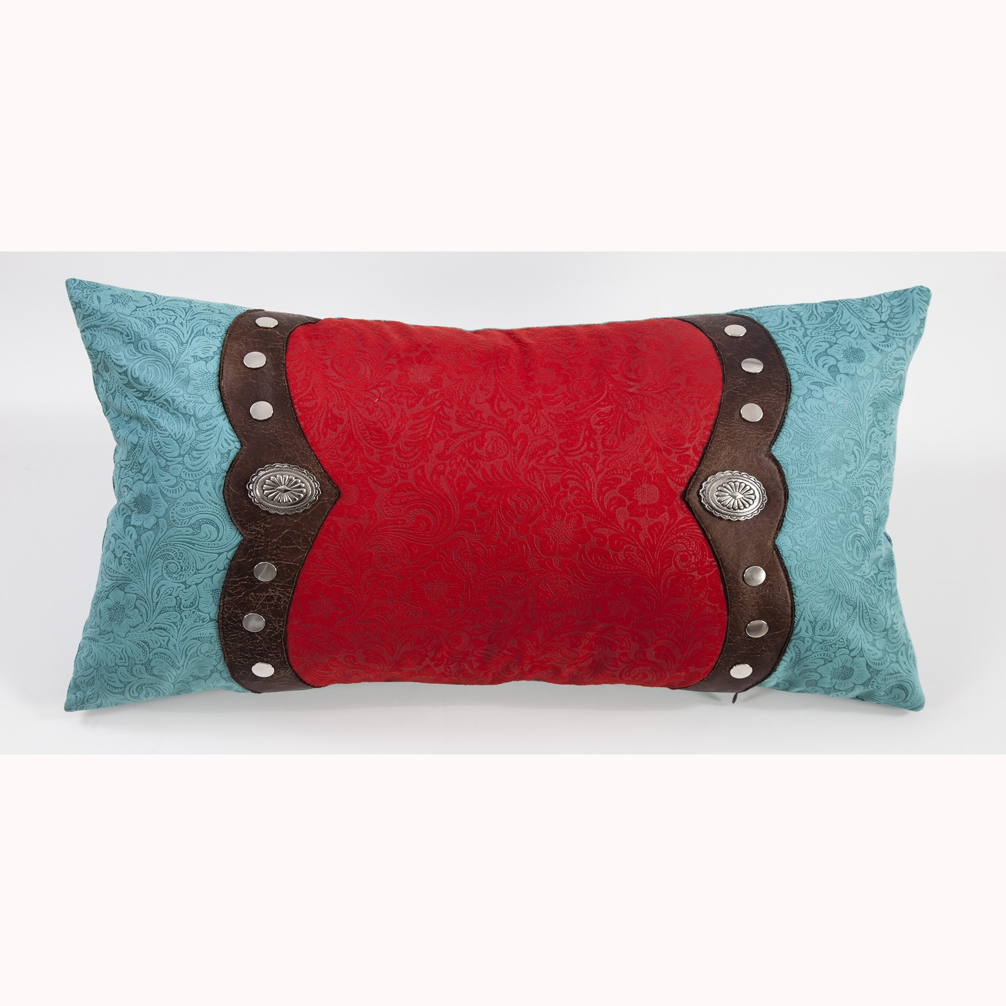 Saverio Odessa Boudoir Red/Turquoise Tool Leather Pillow With Trim, Conchos - Multicolor 24x14