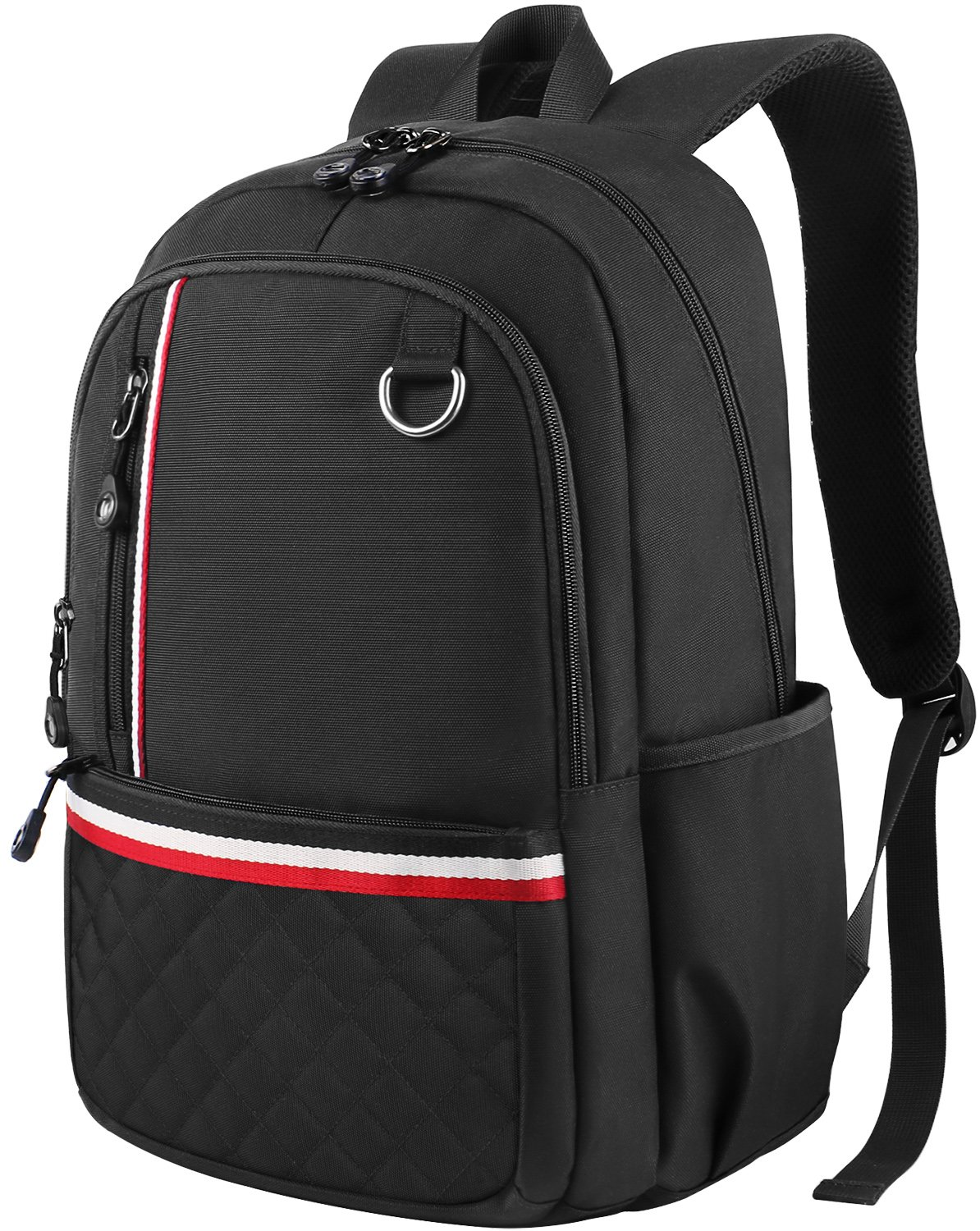 Middle School Backpack, Student Backpack Laptop Bag for Women Men Girls Boys, Cute Lightweight Water-Resistant Slim Computer Bookbag for High School/College/Travel Fits 14 inch Laptop Notebook, Black