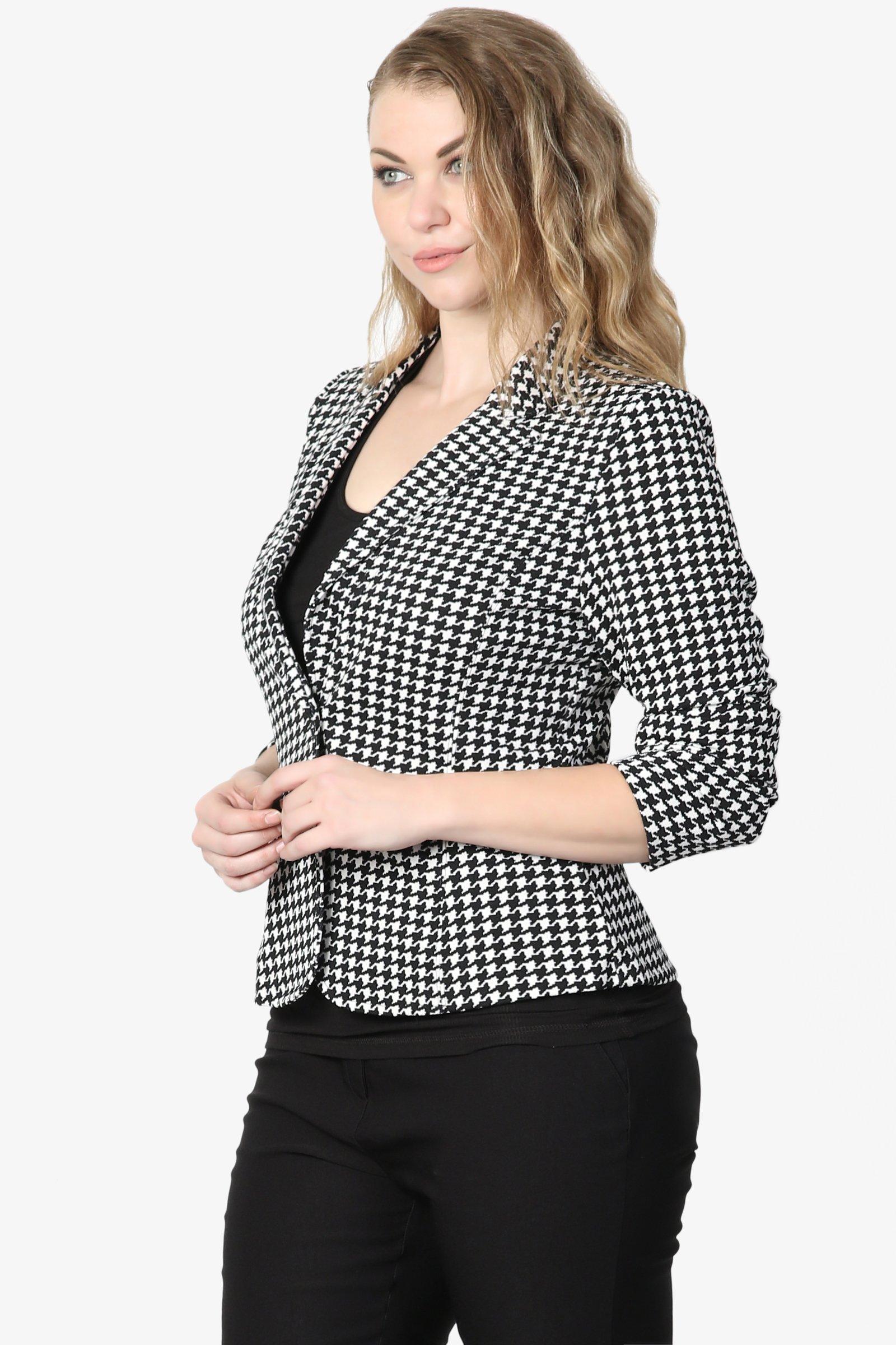 TheMogan Junior's Checker Faux Leather Pocket Slim Fit Blazer Jacket Black 1XL by TheMogan (Image #3)