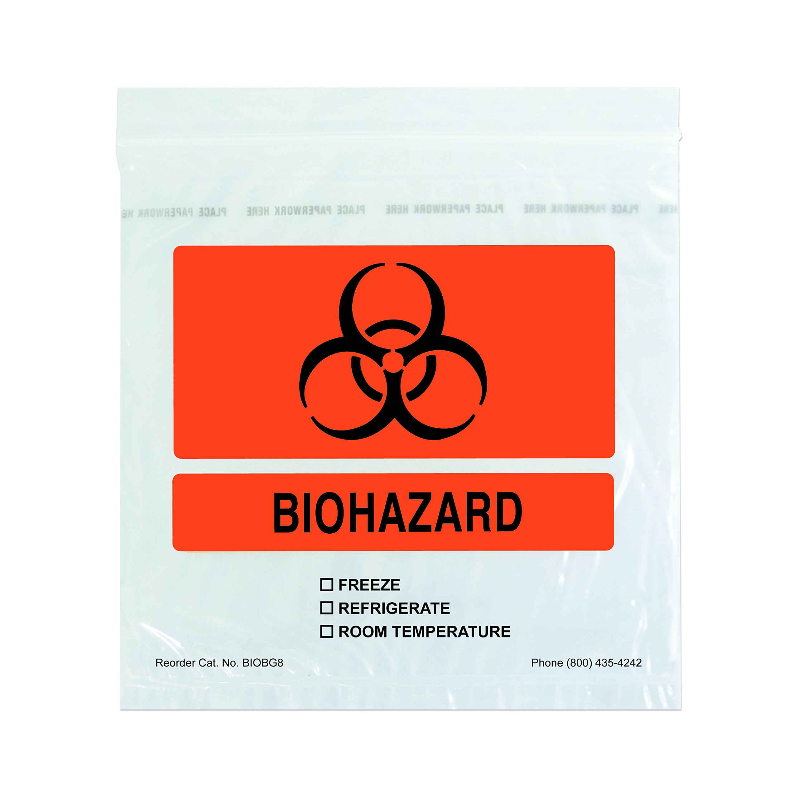 PDC Healthcare BIOBG8 Clear with Orange Plastic Biohazard Bag with Paperwork Pouch, 2 mil, Zip Lock, 8'' x 8'', Black Symbol (Pack of 1000)