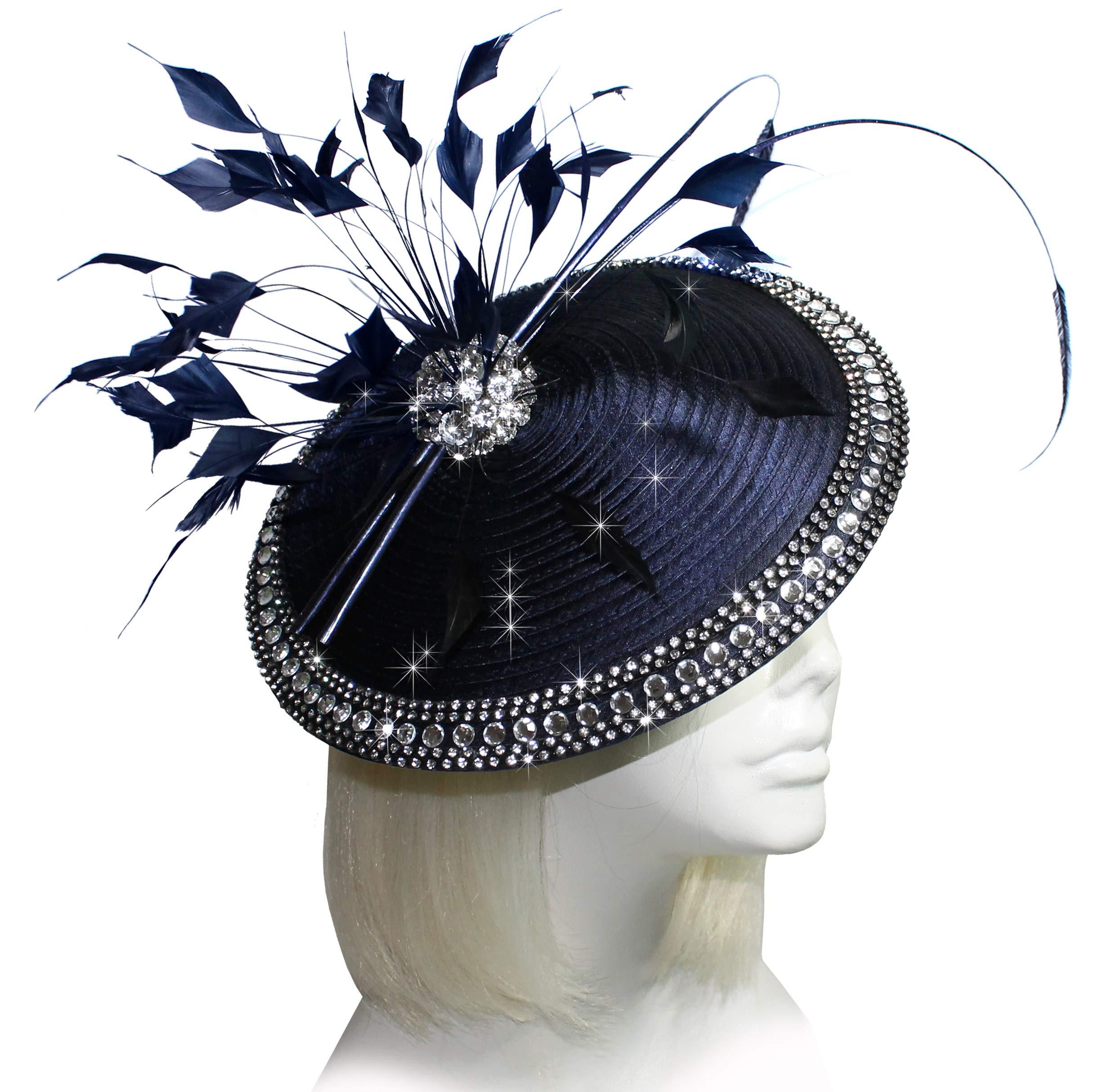 Mr. Song Millinery Kentucky Derby All-Season Profile Dish Fascinator Headband - AF90 Navy Blue