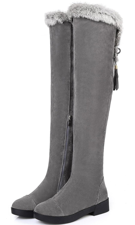 Overknee Stiefel Damen Winter Warm Schneestiefel Kunstfell Bequem Schnalle Schuhe Von BIGTREE Grau 40 EU 1ual5Ue