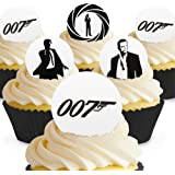 Cakeshop 24 x PRE-CUT James Bond 007 Edible Cake Toppers