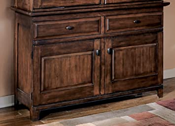 Signature Design By Ashley D442 80 Larchmont Collection Dining Room Buffet Burnished Dark Brown