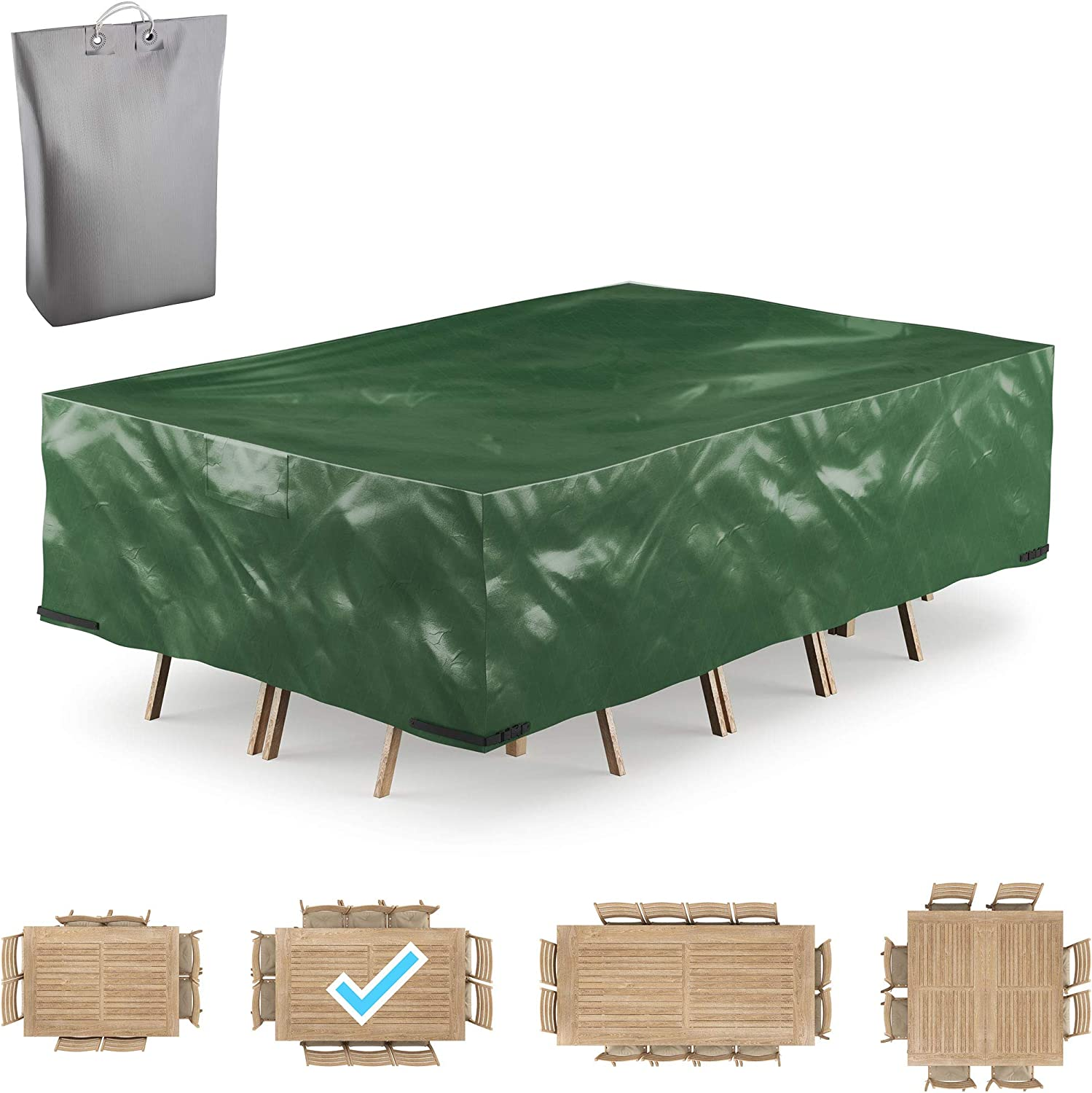 GARDSQUID Patio Furniture Cover Waterproof, Outdoor Table Cover - Tear-Resistant, Weather Resistant - Outdoor Table and Chairs, Sofa, Sectional Cover - Storage Bag Included (111