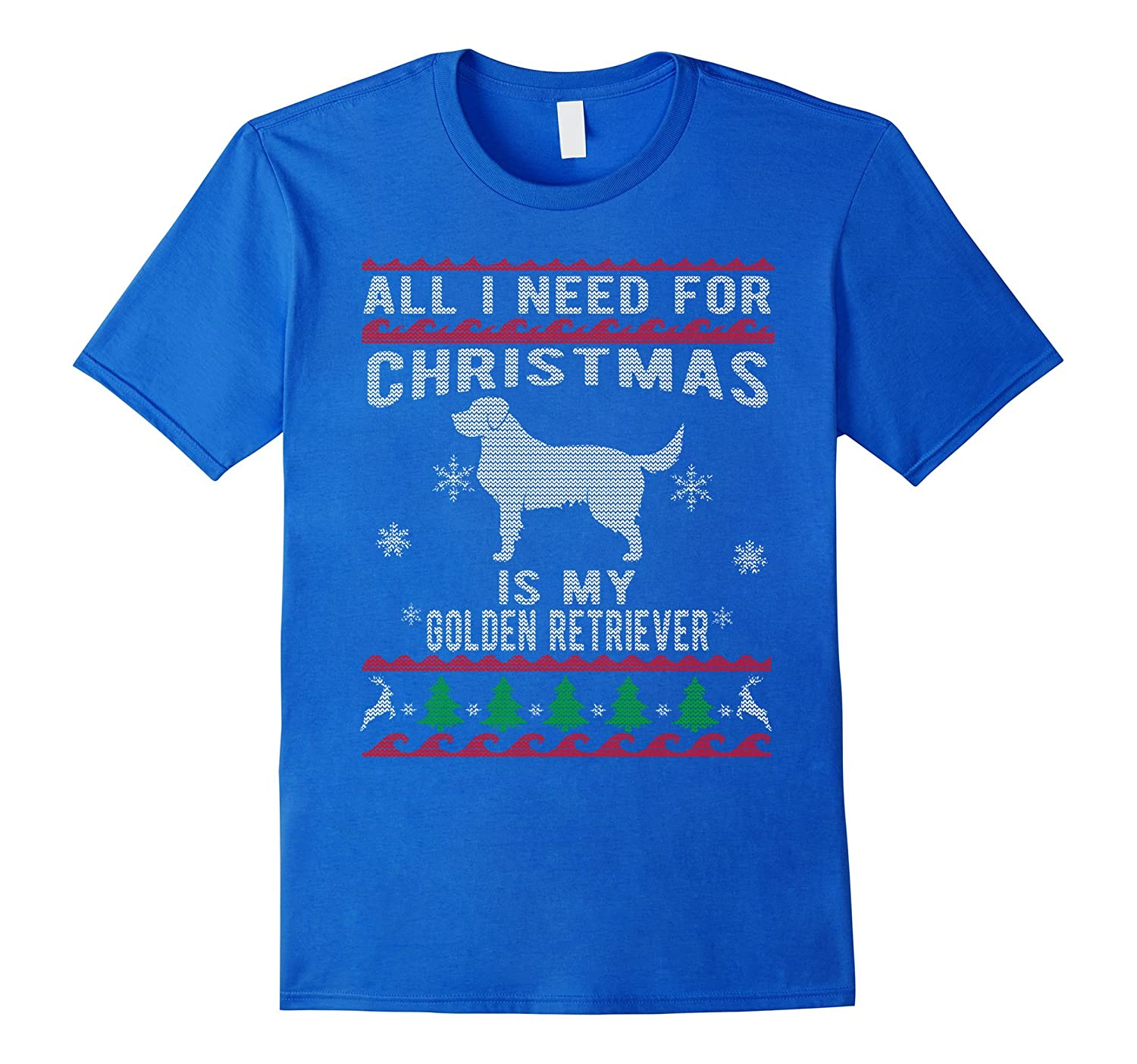 eeec349578 Ugly Christmas Sweater Style Golden Retriever Funny T-Shirt-ANZ ...
