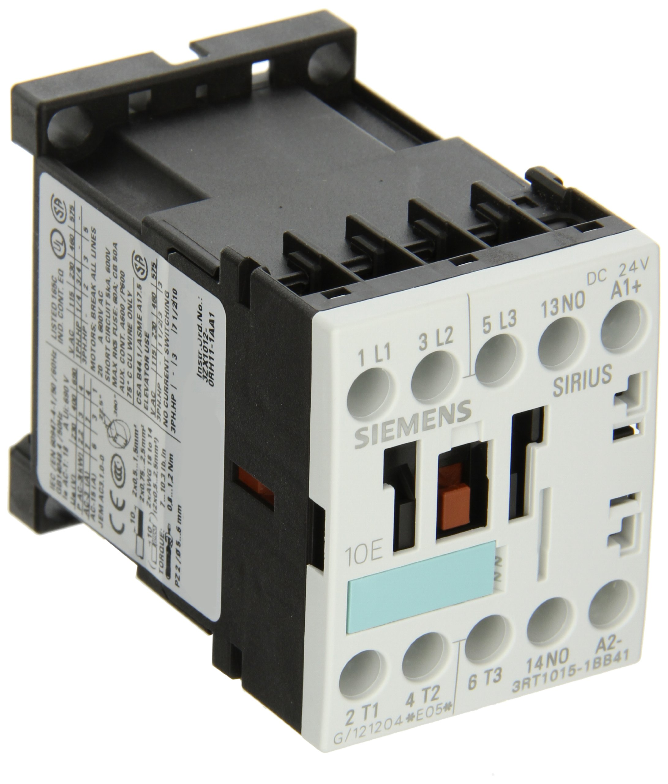 Siemens 3RT10 15-1BB41 Motor Contactor, 3 Poles, Screw Terminals, S00 Frame Size, 1 NO Auxiliary Contact, 24V DC Coil Voltage
