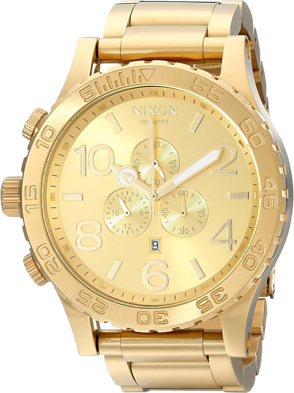 Nixon 51-30 Chrono. Reloj para Hombre Resistente al Agua, 100 m (Esfera de Reloj XL 51 mm/Correa de Acero Inoxidable de 25 mm)