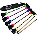 FLASH Pro Flower Stick Set (5 Colours) Silicone Coated Flowerstick & Handsticks! Suprime Quality, Fiberglass Shaft, Silicone Grip, Suede Tassels + Velcro Strap & Travel Bag! (UV Green)