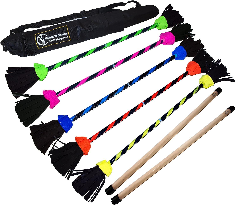 FLASH Pro Flower Stick Set 5 Colours Silicone Coated Flowerstick Handsticks Suprime Quality Fiberglass Shaft Silicone Grip Suede Tassels Sticky Strap Travel Bag UV Orange