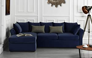 Divano Roma Furniture Modern Sectional, Large, Navy