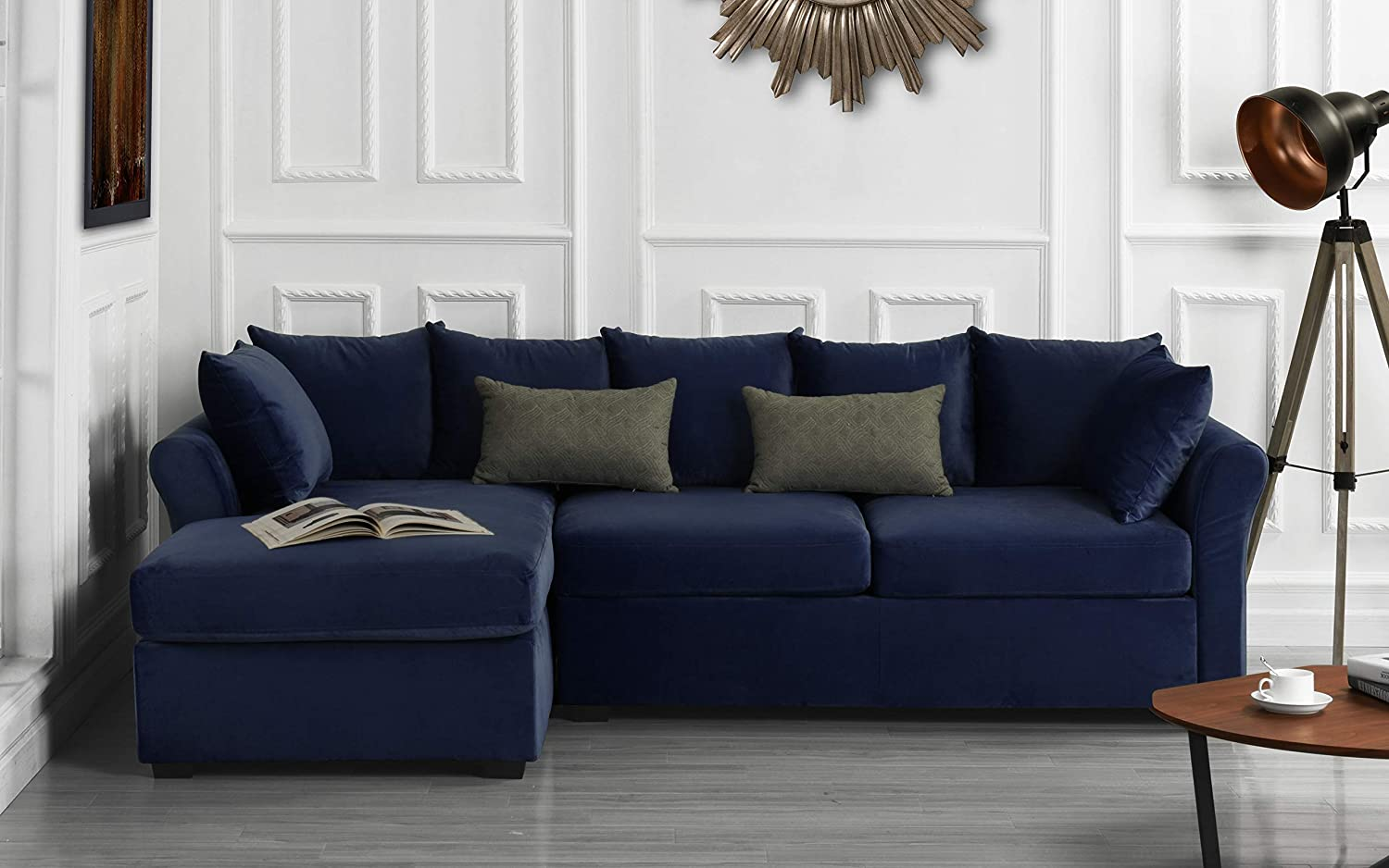 Modern Large Velvet Sectional Sofa, L-Shape Couch with Extra Wide Chaise  Lounge (Navy)