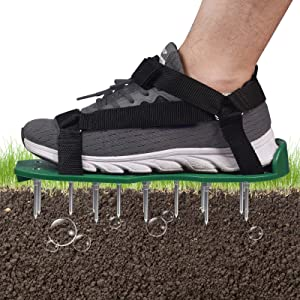BOBUEXER Lawn Aerator Shoes with Hook & Loop Straps, One-Size-Fits-All Heavy Duty Spiked Aerating Sandals Soil Aeration Shoes Easy Use for a Healthier Yard and Garden