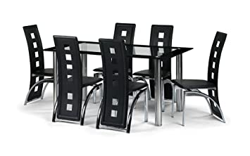6 Seater Black Glass Dining Room Table Set With 6 Faux Leather