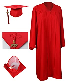 Amazon.com: Matte Red Graduation Cap and Gown Set in Multiple ...