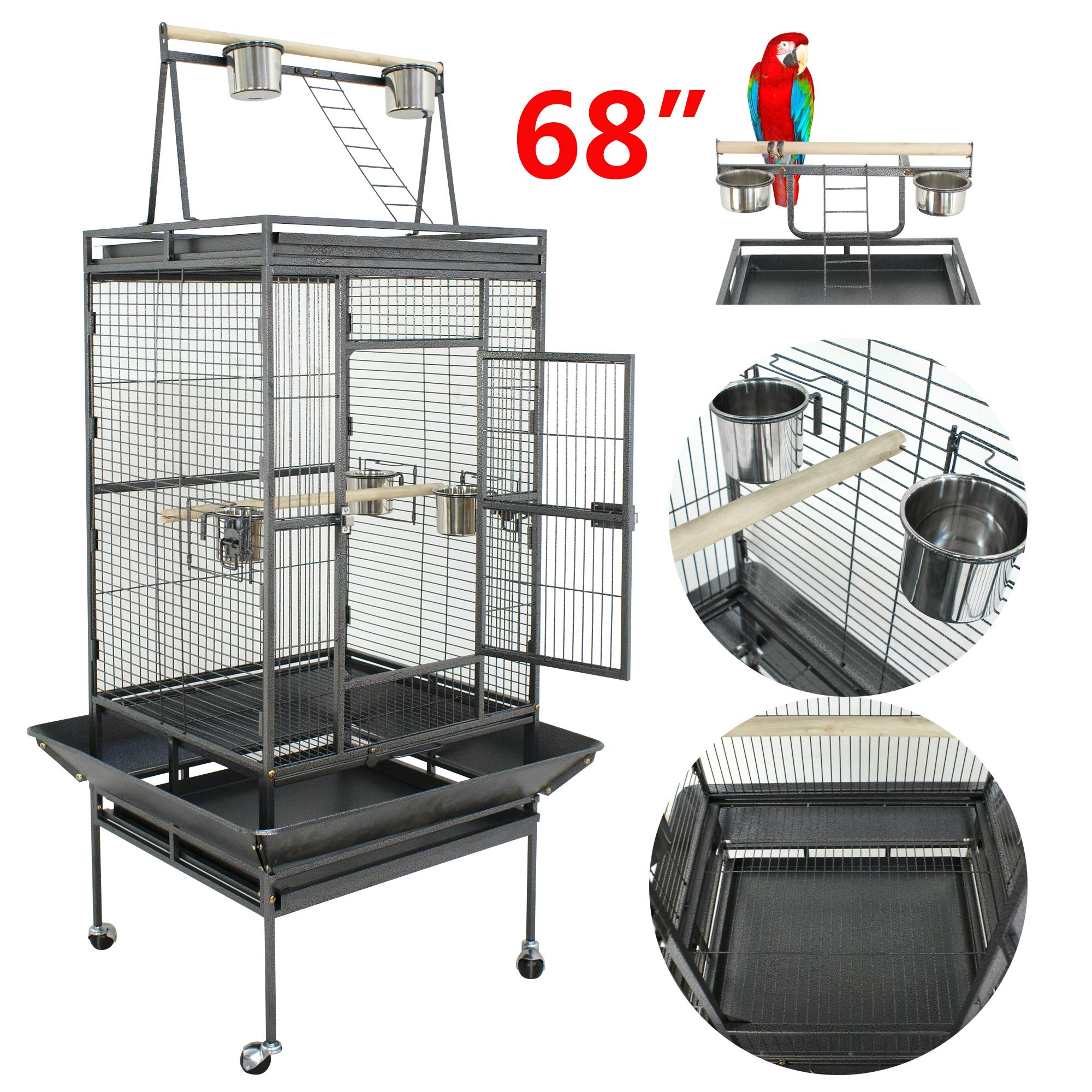 Super Deal 53''/61''/68'' Large Bird Cage Play Top Parrot Chinchilla Cage Macaw Cockatiel Cockatoo Pet House, 68 inch by SuperDealUsa