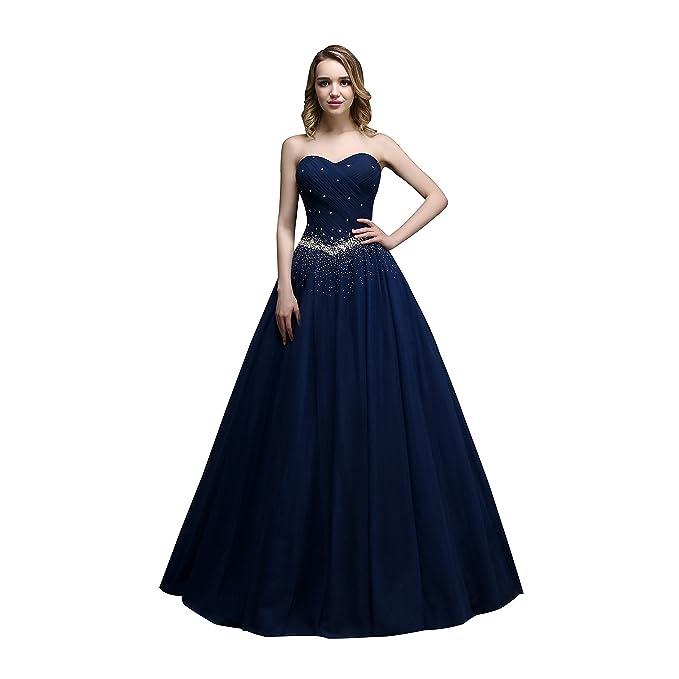 nymph Mujer Vestido de Fiesta Longo con Cuentas de Tul Baile Azul 38