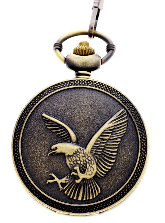 Vintage Retro Bronze Eagle Steampunk Unisex Quartz Fob Chain Pocket Watches