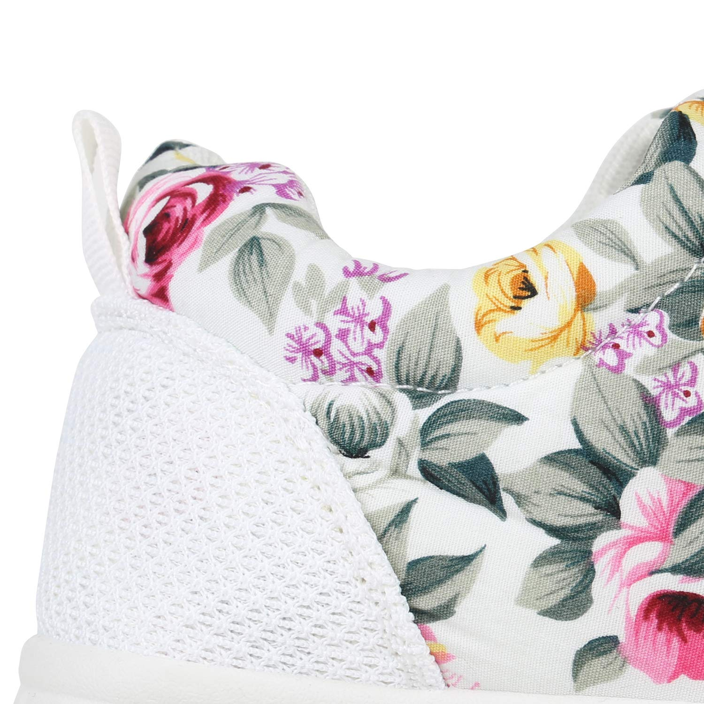 schuhe VITA Unisex Damen Weißs Herren Sportschuhe Laufschuhe Profilsohle Weißs Damen Blumen 65fdd4