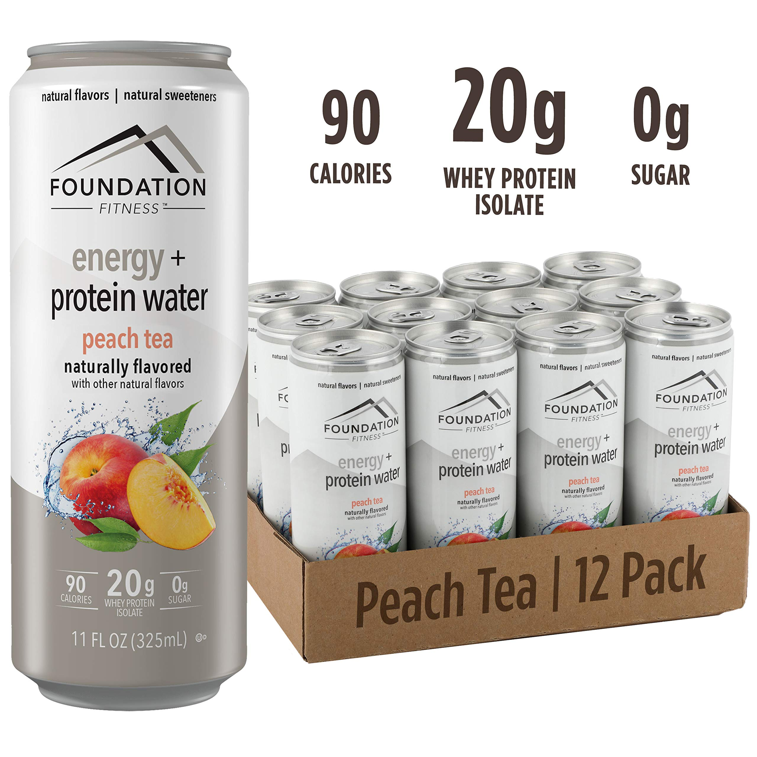 Foundation Fitness Energy & Protein Water, Peach Tea, Ready to Drink, 20g Protein, Natural Flavors & Sweetener, 0g Sugar, 11 fl oz, (Pack of 12) by Foundation Fitness